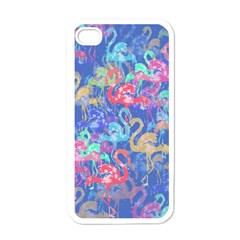 Flamingo pattern Apple iPhone 4 Case (White)
