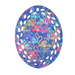 Flamingo pattern Oval Filigree Ornament (Two Sides)
