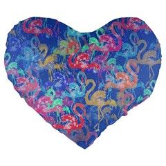 Flamingo pattern Large 19  Premium Heart Shape Cushions