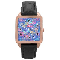 Flamingo pattern Rose Gold Leather Watch