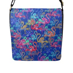 Flamingo pattern Flap Messenger Bag (L)