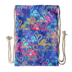 Flamingo pattern Drawstring Bag (Large)