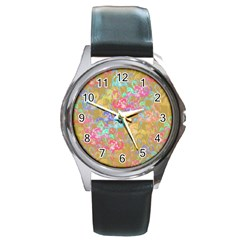 Flamingo pattern Round Metal Watch