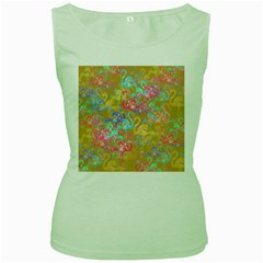 Flamingo pattern Women s Green Tank Top