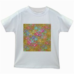 Flamingo pattern Kids White T-Shirts