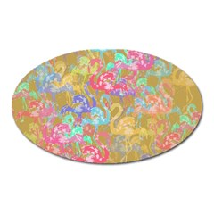 Flamingo pattern Oval Magnet