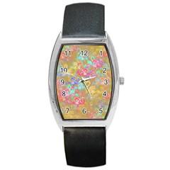 Flamingo pattern Barrel Style Metal Watch