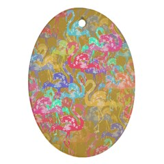 Flamingo pattern Oval Ornament (Two Sides)