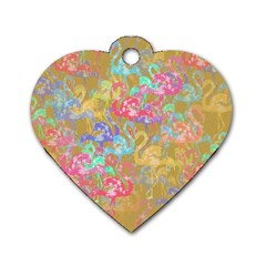 Flamingo pattern Dog Tag Heart (One Side)