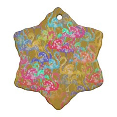 Flamingo pattern Snowflake Ornament (Two Sides)