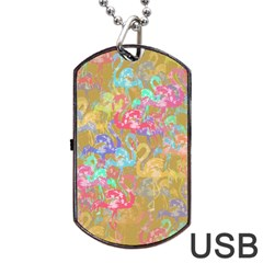 Flamingo pattern Dog Tag USB Flash (Two Sides)