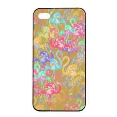 Flamingo pattern Apple iPhone 4/4s Seamless Case (Black)