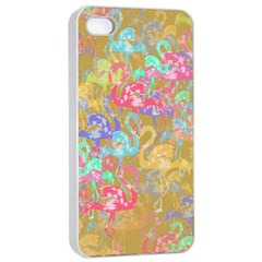 Flamingo pattern Apple iPhone 4/4s Seamless Case (White)