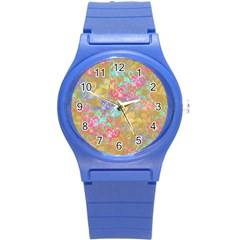 Flamingo pattern Round Plastic Sport Watch (S)