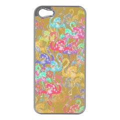Flamingo pattern Apple iPhone 5 Case (Silver)