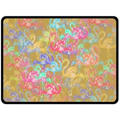 Flamingo pattern Double Sided Fleece Blanket (Large)