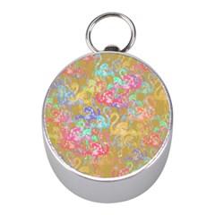 Flamingo pattern Mini Silver Compasses