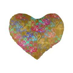 Flamingo pattern Standard 16  Premium Flano Heart Shape Cushions
