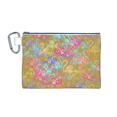 Flamingo pattern Canvas Cosmetic Bag (M)
