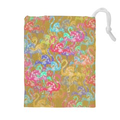 Flamingo pattern Drawstring Pouches (Extra Large)