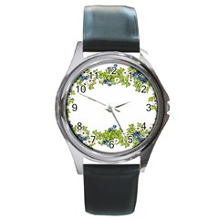 Birthday Card Flowers Daisies Ivy Round Metal Watch