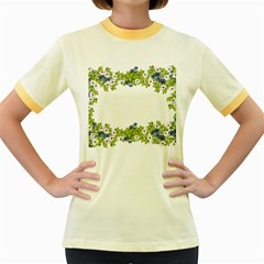 Birthday Card Flowers Daisies Ivy Women s Fitted Ringer T-Shirts