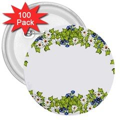 Birthday Card Flowers Daisies Ivy 3  Buttons (100 pack)