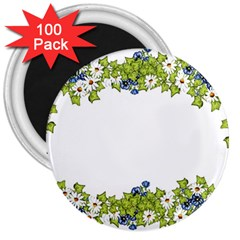 Birthday Card Flowers Daisies Ivy 3  Magnets (100 Pack)