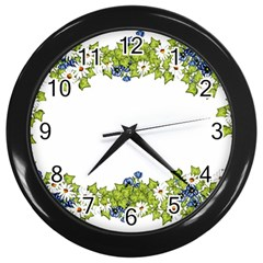 Birthday Card Flowers Daisies Ivy Wall Clocks (Black)