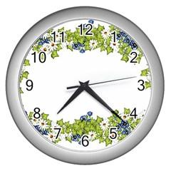 Birthday Card Flowers Daisies Ivy Wall Clocks (Silver)