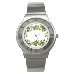 Birthday Card Flowers Daisies Ivy Stainless Steel Watch