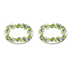 Birthday Card Flowers Daisies Ivy Cufflinks (Oval)