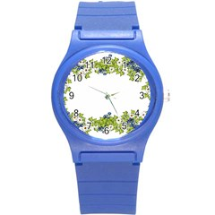 Birthday Card Flowers Daisies Ivy Round Plastic Sport Watch (S)