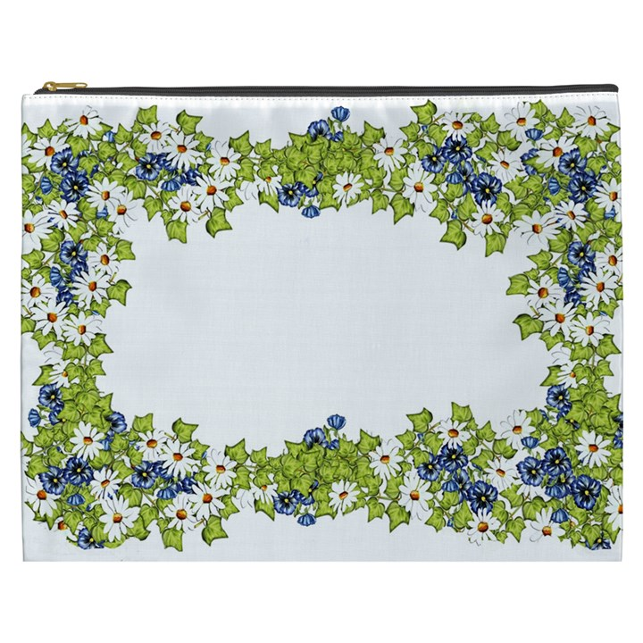 Birthday Card Flowers Daisies Ivy Cosmetic Bag (XXXL)