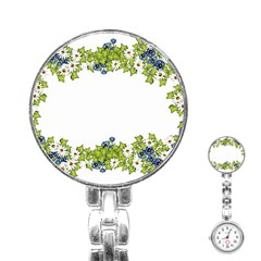 Birthday Card Flowers Daisies Ivy Stainless Steel Nurses Watch