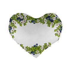 Birthday Card Flowers Daisies Ivy Standard 16  Premium Flano Heart Shape Cushions