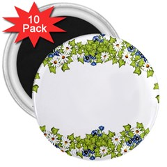 Birthday Card Flowers Daisies Ivy 3  Magnets (10 Pack)