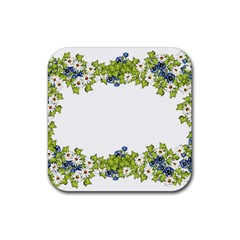 Birthday Card Flowers Daisies Ivy Rubber Square Coaster (4 Pack)