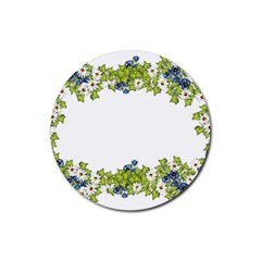 Birthday Card Flowers Daisies Ivy Rubber Round Coaster (4 Pack)