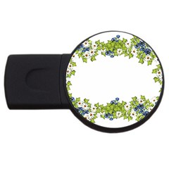 Birthday Card Flowers Daisies Ivy USB Flash Drive Round (2 GB)