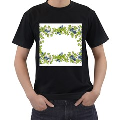 Birthday Card Flowers Daisies Ivy Men s T Shirt (black) (two Sided)