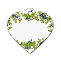 Birthday Card Flowers Daisies Ivy Dog Tag Heart (one Side)