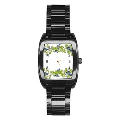 Birthday Card Flowers Daisies Ivy Stainless Steel Barrel Watch