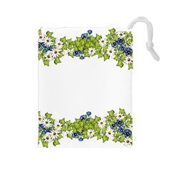 Birthday Card Flowers Daisies Ivy Drawstring Pouches (large)