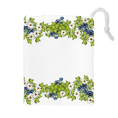 Birthday Card Flowers Daisies Ivy Drawstring Pouches (Extra Large)