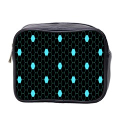 Blue Black Hexagon Dots Mini Toiletries Bag 2 Side