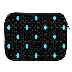 Blue Black Hexagon Dots Apple iPad 2/3/4 Zipper Cases