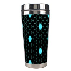 Blue Black Hexagon Dots Stainless Steel Travel Tumblers