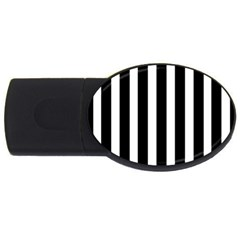 Black White Line Vertical Usb Flash Drive Oval (4 Gb)