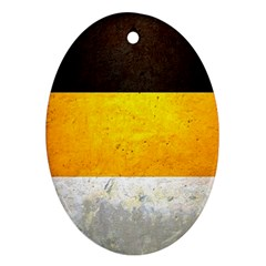 Wooden Board Yellow White Black Oval Ornament (two Sides)